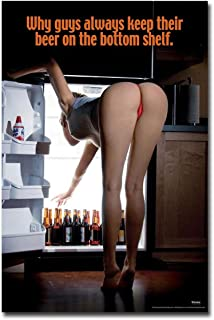 Why Guys Keep Their Beer On the Bottom Shelf Hot Girl Funny Refrigerator Magnet Size 2.5