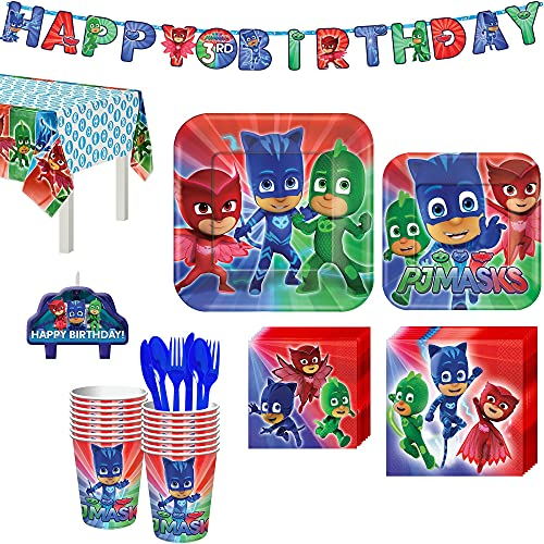Party City PJ Masks Kids Birthday Party Supplies for 16 Guests, Includes Plates, Napkins, Birthday Candles, and Decorations