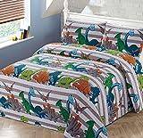 Better Home Style Dinosaur Dinosaurs Jurassic Park World Kids/Boys/Toddler Coverlet Bedspread Quilt Set with Pillowcases # Dino Stripe (Queen/Full)