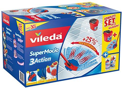 Vileda SuperMocio 3Action Wischmop im Komplettset mit Eimer und 3 Wischköpfen, XL