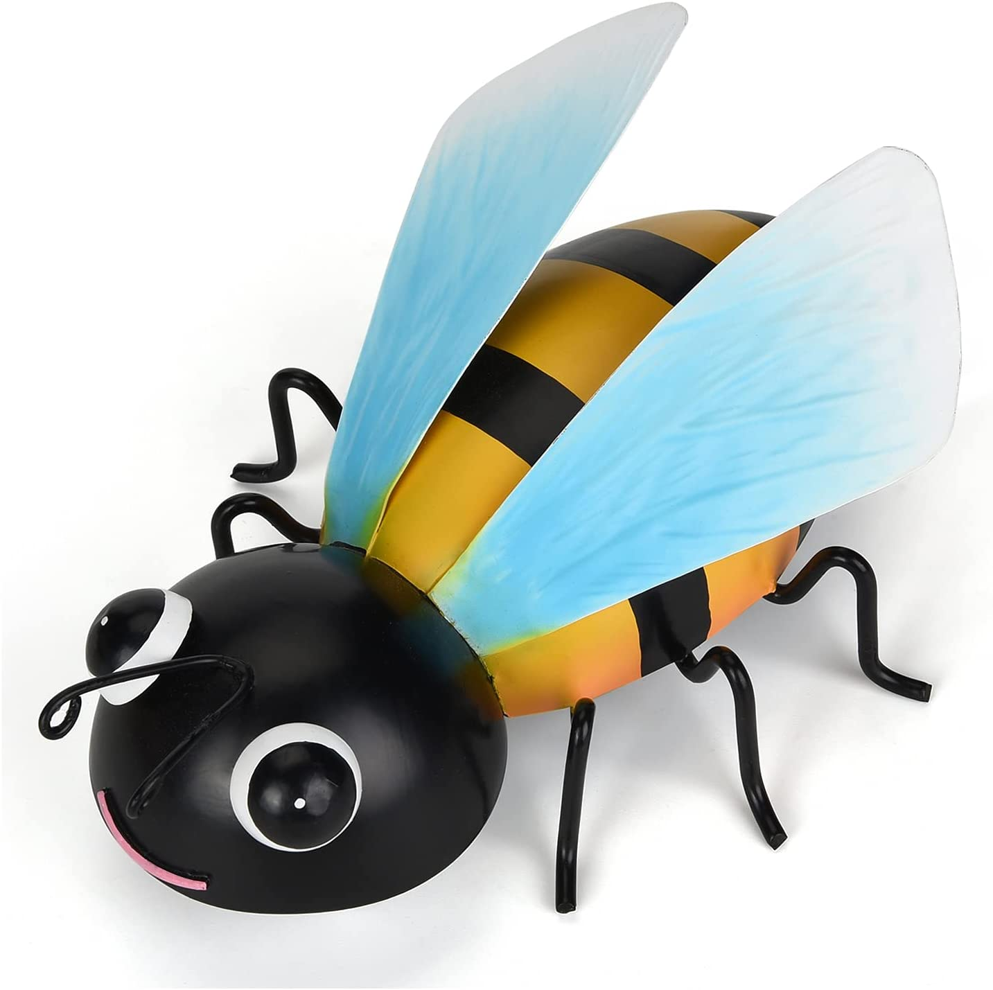 Metal Bee Wall Art Decor 3D Sculpture Hanging Decorative Metal Bumble Bee Ornament for Indoor Outdoor Garden Yard Porch Patio Lawn Fence Home Decorations Gift 6.3