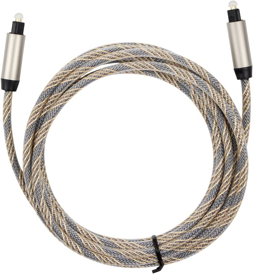 26 Feet Fiber Optic Audio Cable 8 Meters Mayfan Toslink Male to Male SPDIF Braided Digital Optical Fiber Audio Cable with Metal Connectors