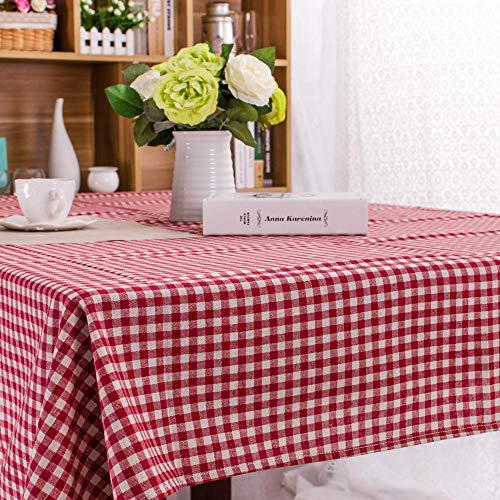 Yinaa Manteles de Mesa Rectangular Efecto para Cocina Lino de Algodón Simple para Salón Cocina Comedor decoración de Mesa Rojo 140 × 180cm