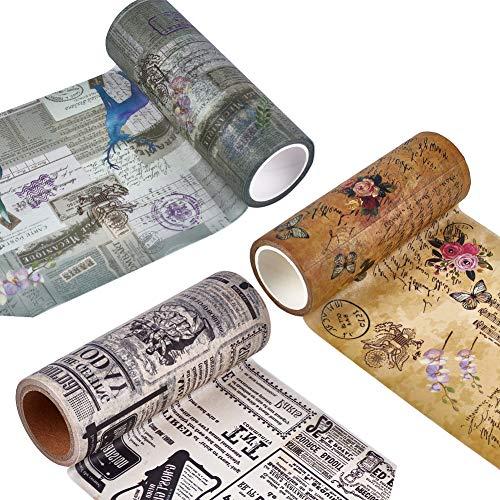 craspire Ruban Washi Vintage, 3 Rouleau de Ruban Adhésif Décoratif Large Ruban de Masquage Washi avec Différents Motifs Ruban d'emballage Cadeau pour Embellir