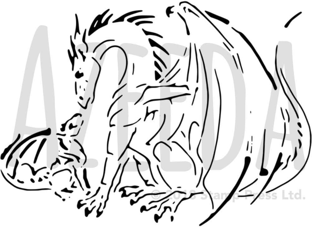 WS00017981 Azeeda Gro/ß A2 Nashorn Familie Wandschablone Vorlage