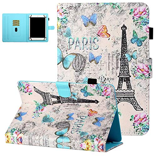 Universal Case for 8 Inch Tablets, UGOcase PU Leather Shockproof Anti-Slip Stand Card Slots Case for Fire HD 8/Galaxy Tab A 8.0/Tab E 8.0/Tab 4 8.0/Tab S2 8.0/Z380M/NPOLE IPS 7.9', Paris Tower