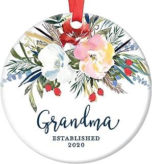 New Grandma Established 2020 Christmas Ornament Grandmother Gift Pregnancy Announcement Baby Grandchild Due 2020 Pretty Floral Grandmom Ceramic Keepsake 3