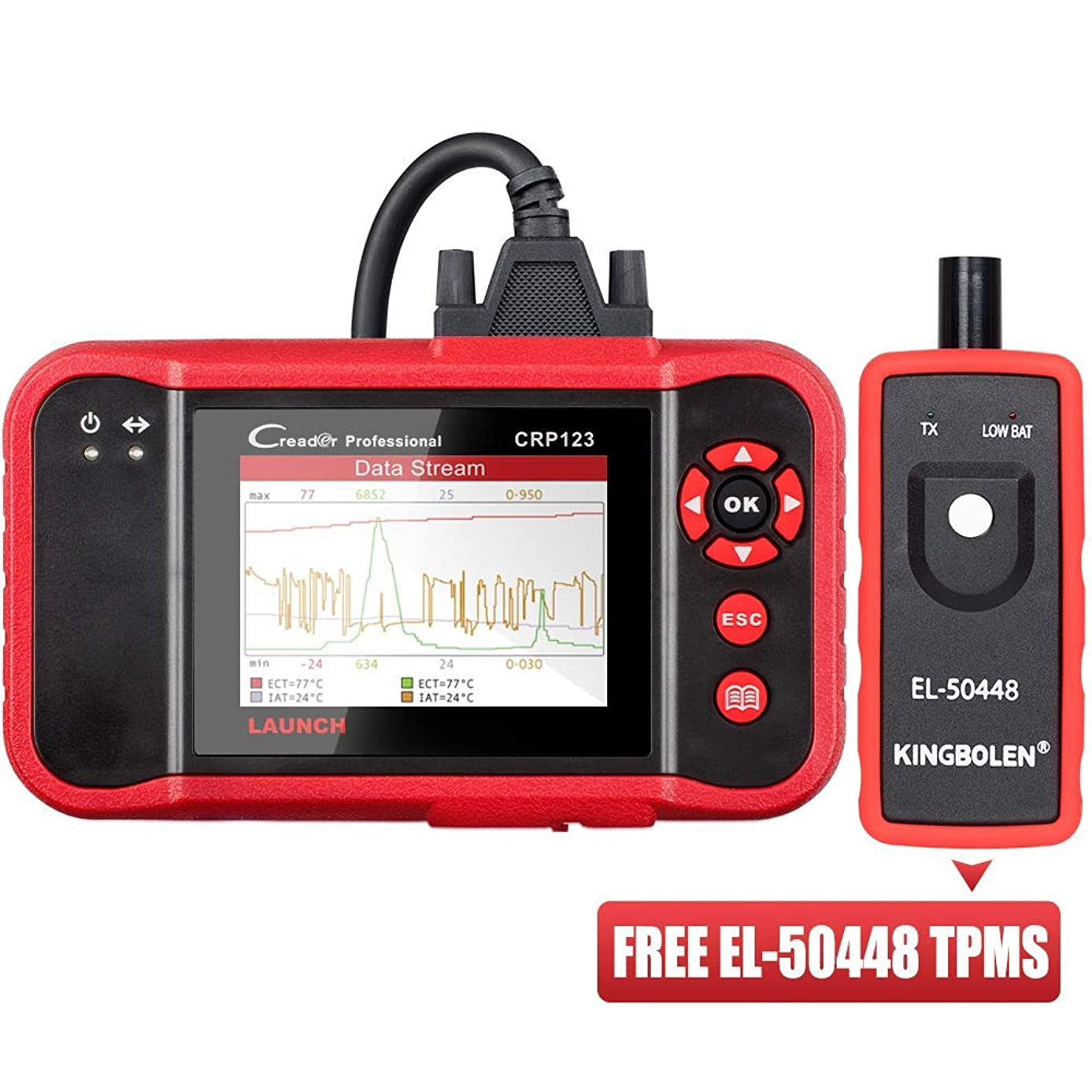 LAUNCH OBD2 Scanner CRP123 Check Engine ABS Airbag Transmission Automotive Code Reader Car Diagnostic Scan Tool, EL-50448 TPMS As Gift,Free Lifetime Update