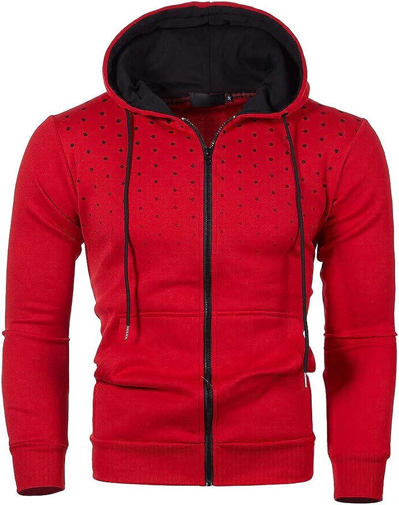 HONGJ Zipper Jackets for Mens, Color Block Patchwork Hooded Sweatshirts Polka Dot Print Workout Sports Casual Hoodies