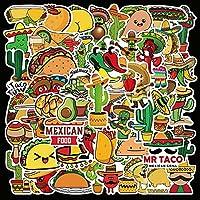 50ピース漫画メキシコスタイルの食品落書きステッカーチドレン玩具荷物ノートブックラップトップ車のDIYデカールステッカー防水防水 (Color : CNY188)