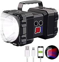 Rechargeable Spotlight Flashlight, 6000Lumen Super Bright LED Spotlight Flashlight Searchlight, 10000mAh 3+4 Lights Modes ...