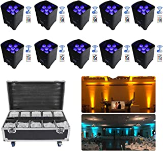 V-Show 10 Pack 6x18W Wireless Battery Powered LED Par Light, RGBWA+UV Dmx Wireless LED Uplights Controlled by Remote & WiFi Mobile APP for DJ Disco Party Wedding Uplight With Charging Case