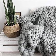 Throw Blanket Handmade Chunky Knitted Blanket Thick line Blanket Super Soft Sofas Blanket Wool Blanket for Bedroom Living ...