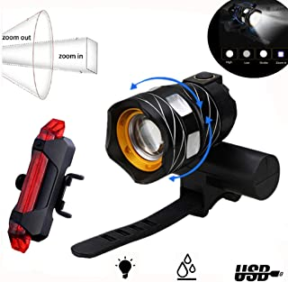 LED Bike Light USB Rechargeable, Abcty 1200 Lumens Bicycle Headlight Set Free Bike Taillight, Easy to Install and Fits All Mountain, Road Bicycles, Waterproof, Adjustable Focal Length Cycling Safety