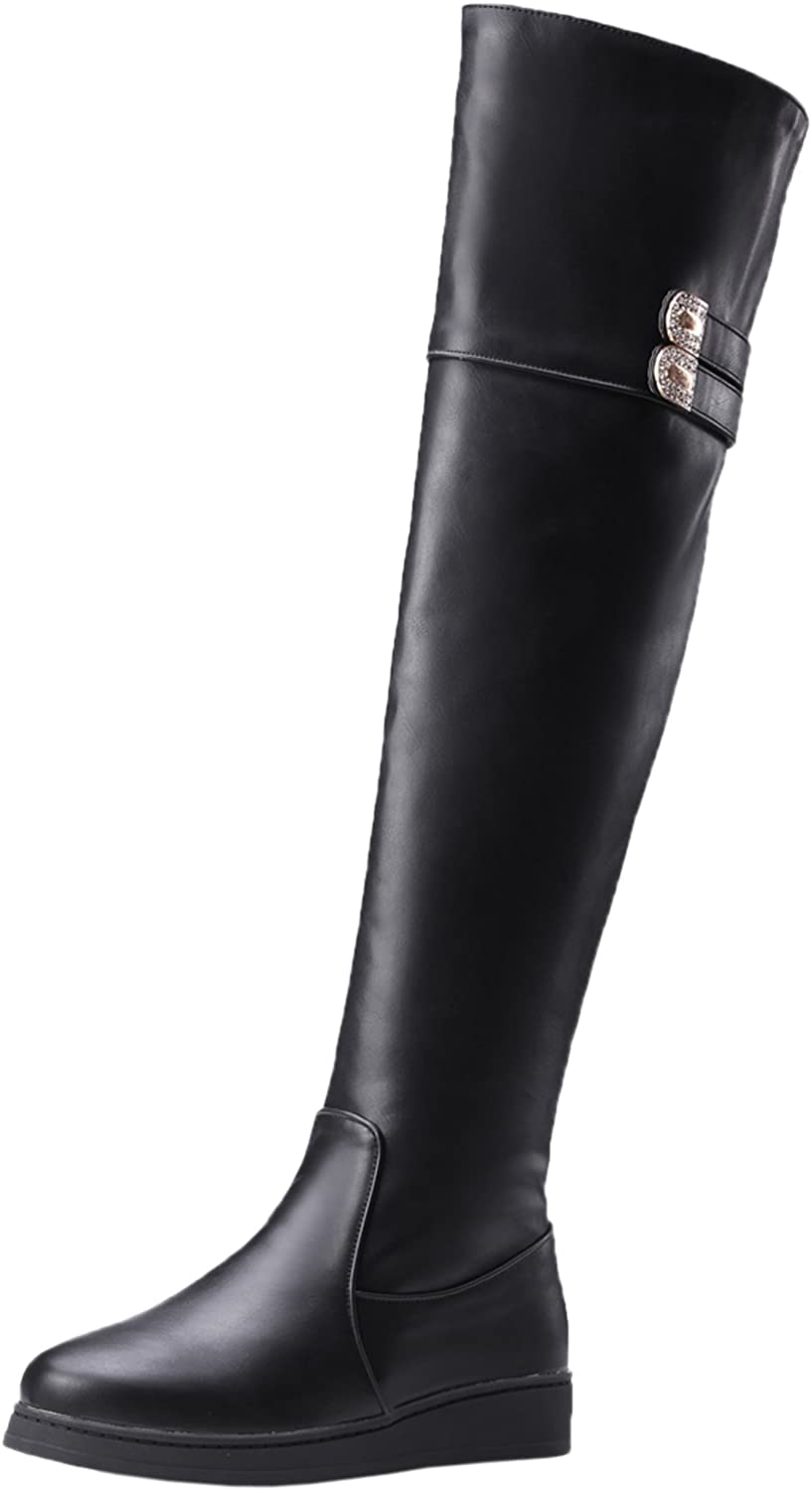 BIGTREE Thigh High Boots Women Flat Shiny Rhinestones Fall Winter Warm Black Over The Knee Boots