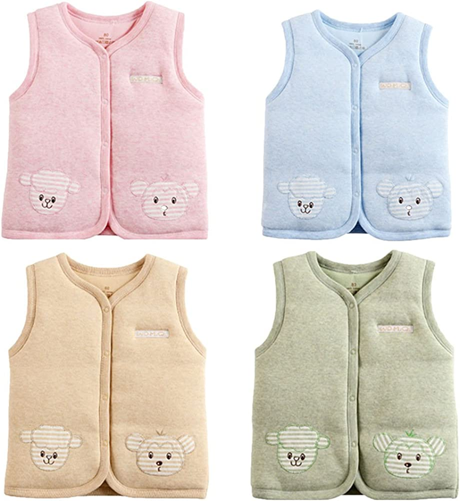 Monvecle Baby Cotton Warm Vests Unisex Infant to Toddler Padded Waistcoat