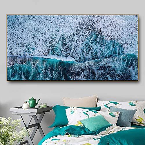 Mar agua marina lienzo pintura moderna impresiones paisaje arte cartel...