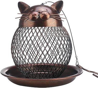 Outside Wild Bird Feeder, Heavy Duty Metal Frame Squirrel Proof Bird Feeders Hanging for Garden Yard Outdoor Decoration, Cute