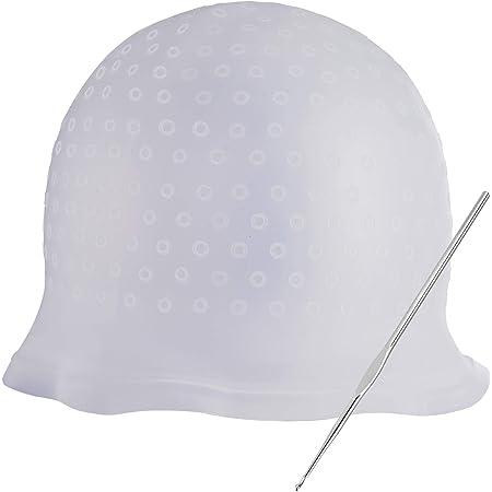 Gorra de Color de Cabello Gorro de Tinte de Silicona Gorro de Peluquería Reutilizable Incluye Aguja de Gancho de Metal, Blanco