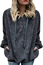 OTTATAT Casual Hooded Sweaters for Women,2019 Autumn Winter Ladies Wool Zipper Solid Patchwork Warm Pockets Pullovers