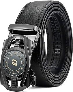 Men's Leather Ratchet Dress Belt with Automatic Sliding Buckle