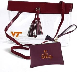 Virginia Tech Hokies Clear Handbag and Wristlet Combo with Logo, Vegan Leather Trim and Tassels