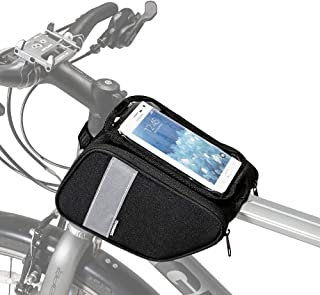 Allnice Bike Frame Bag Top Tube Bags Waterproof Handlebar Bag Front Frame Pannier Packs with Touch Screen Cycling Phone Pouch for Cellphone Below 6.28 in