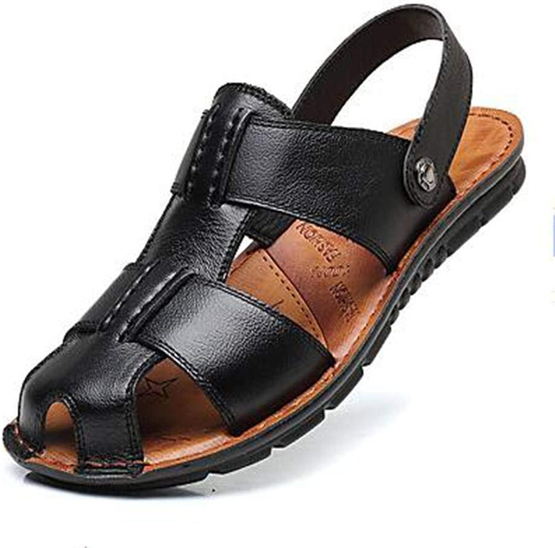 AIYI Men's Comfort shoes Microfiber Spring Summer Sandals Black Brown Casual Rivet Outdoor 38-44