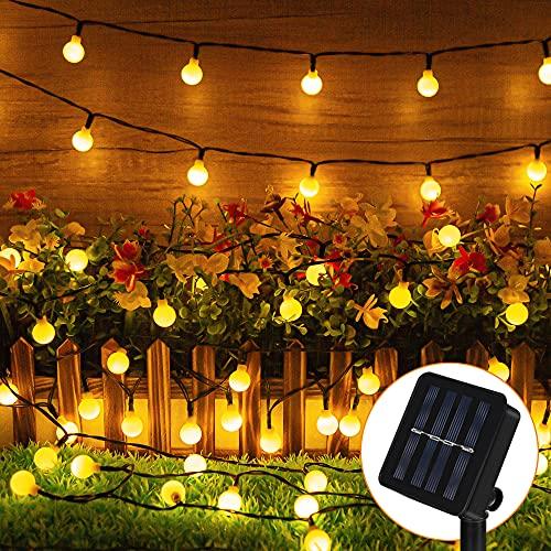 Solar Lichterkette Außen, 10M 80 Globe LED Solar Aussen Lichterkette Kugeln, 8 Modi IP65 Wasserdicht Warmweiß Deko Lichterkette für Draußen, Garten, Balkon, Bäume, Terrassen, Weihnachten, Party