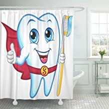 Jszna Shower Curtain Happy White Smile Tooth Holding Toothbrush Smiling Dental Cartoon Shower Curtains Sets with 12 Hooks 60 x 72 Inches Waterproof Polyester Fabric