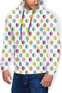 GULTMEE Men's Hoodies Sweatershirt, Eighties Nineties Style Design with Circles in and Doodle Details,5 Size