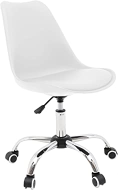 Armless Desk Chair Home Office Chair, Ergonomic Computer Chair with Cushion and Wheels, Conference Room Task Chair 360° Swive