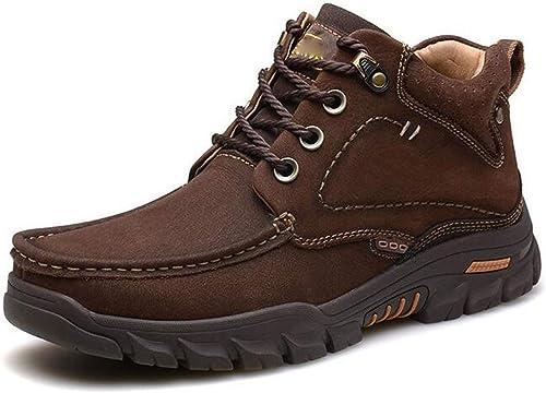 HWG-GAOYZ Chaussures Homme Bottes Martin Chaussures De Randonnée Randonnée Randonnée en Coton Velours à Taille Haute Winter Outdoor Plus,marron-38 79b