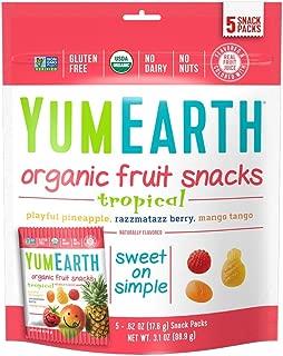 YumEarth Organic Tropical Fruit Snacks , 5 Count Snack Packs Per Bag,Pack of 12