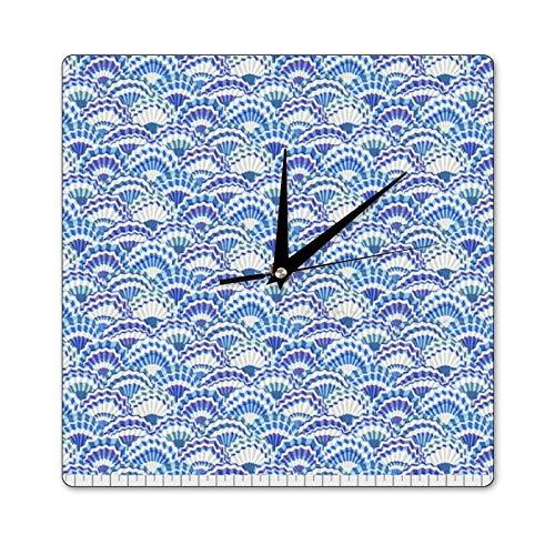 Mari57llis Reloj clásico de madera, sin garrapatas, ventiladores de papel Delft, reloj de pared cuadrado de 15 x 15 pulgadas, reloj decorativo para cocina, sala de estar