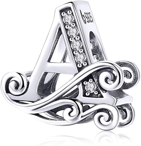 Solid 925 Sterling Silver with Cubic Stones, Complete A~Z Gift Options Alphabet Charm Letter Beads fit Pandora Europe...