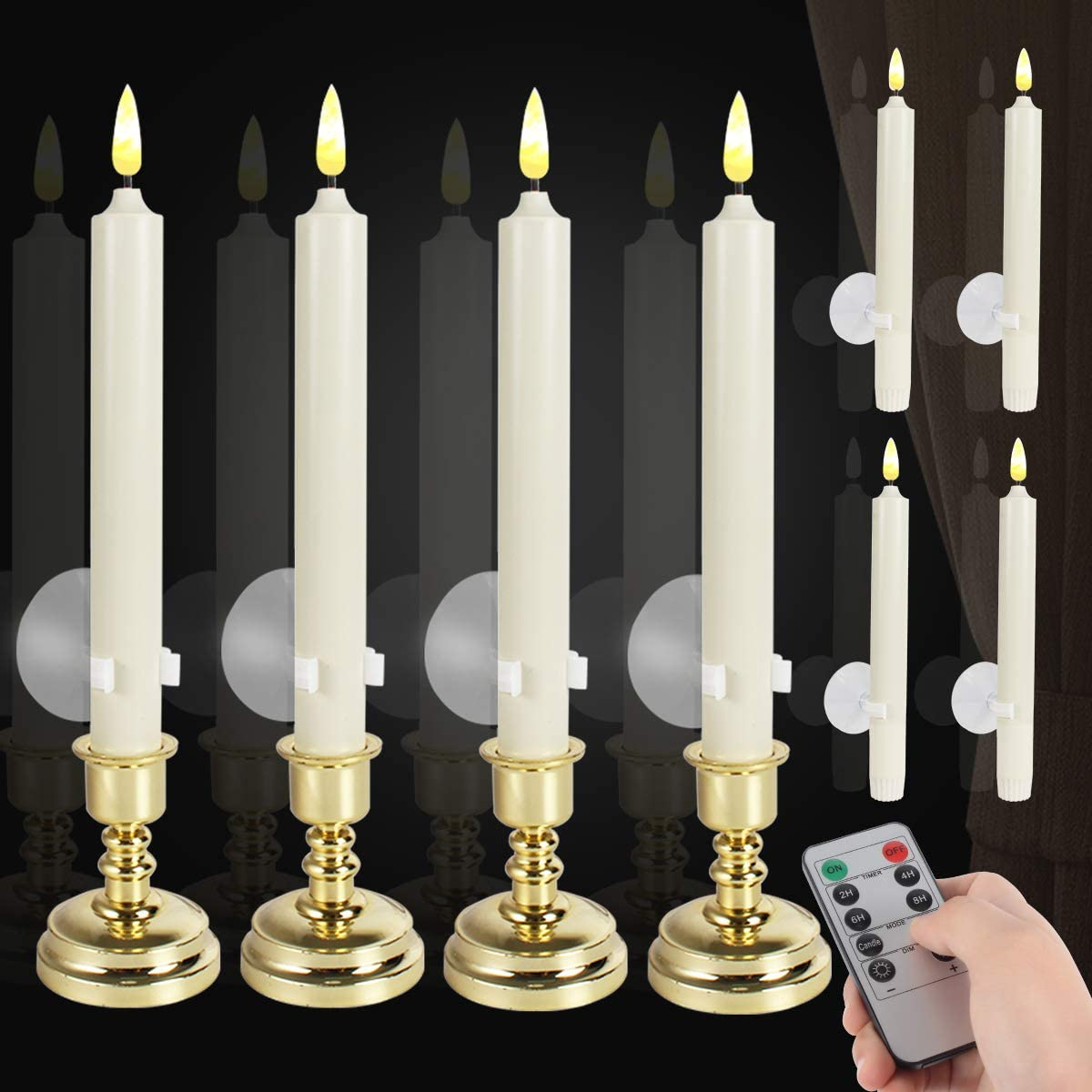 8 Pack Flameless Window Candles Set. with 8 Clips+8 Suction Cup+8 Golden Candleholders. Battery Powered Ivory LED Taper Candles with Remote Timer & Candlestick for Windows Christmas Decor