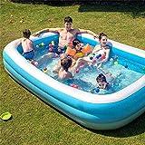 WSJYP Piscinas Inflables para Adultos y Niños, Piscinas Familiares Grandes Rectangulares para Nadar, Centro de Natación Jardín al Aire Libre de Verano,210X140X65CM-Blue