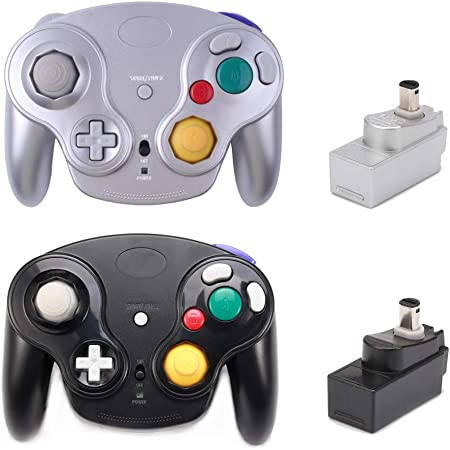 Classic Wireless Controller Gamepad with Receiver Adapter, Compatible with for Wii Gamecube NGC GC(Black and Silver)