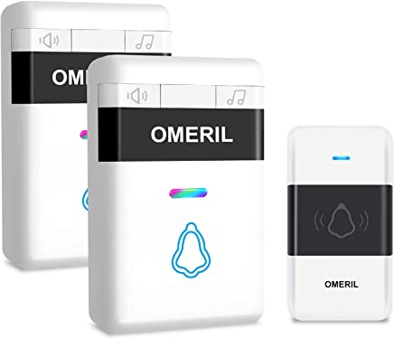 Door Bell, OMERIL Loud Wireless Doorbell Plug In with 5 Level Volume (Mute Mode), 300M Range, Colorful LED Flash & 32 Tunes, IP55 Waterproof Doorbell Cordless Battery Operated with 2 Receiver
