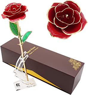 LOVAC Gold Dipped Rose, 24k Gold Eternity Rose with Transparent Stand Representing Immortal Love,Best Gift for Valentines Day, Mothers Day,Birthday Gift (Red-A)