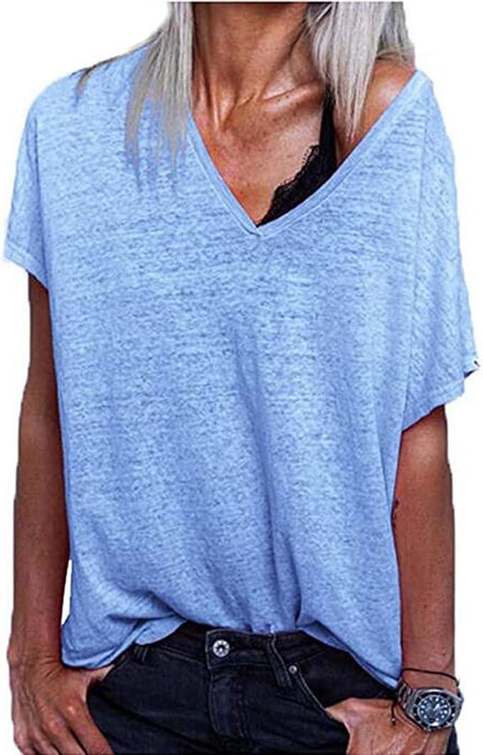 Effely Mujer Cuello en V Manga Corta Camiseta Oversize Casual Tops Color Sólido