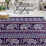 Naanle Tribal Ethnic Elephant Area Rug 5'x7', Mandala Elephant Polyester Area Rug Mat for Living Dining Dorm Room Bedroom Home Decorative