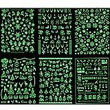 HOWAF Navidad Nail Art Stickers, 500+pcs Que Brillan en La Oscuridad 3D Uñas Pegatinas Copo de Nieve Reno Árbol de Navidad Papa Noel Uñas Pegatinas Manicura Maquillaje Navideño
