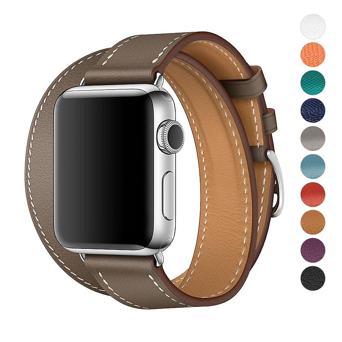 apple watch バンド 本革 ビジネススタイル アップルの時計バンドの38 mmの42 mmのエルメス本物の革の交換バンドアップルウォッチシリーズの3シリーズ2シリーズ1ナイキエルメスの版のための古典的な金属アダプタクラスプダブルツアー (38mm, Gray)