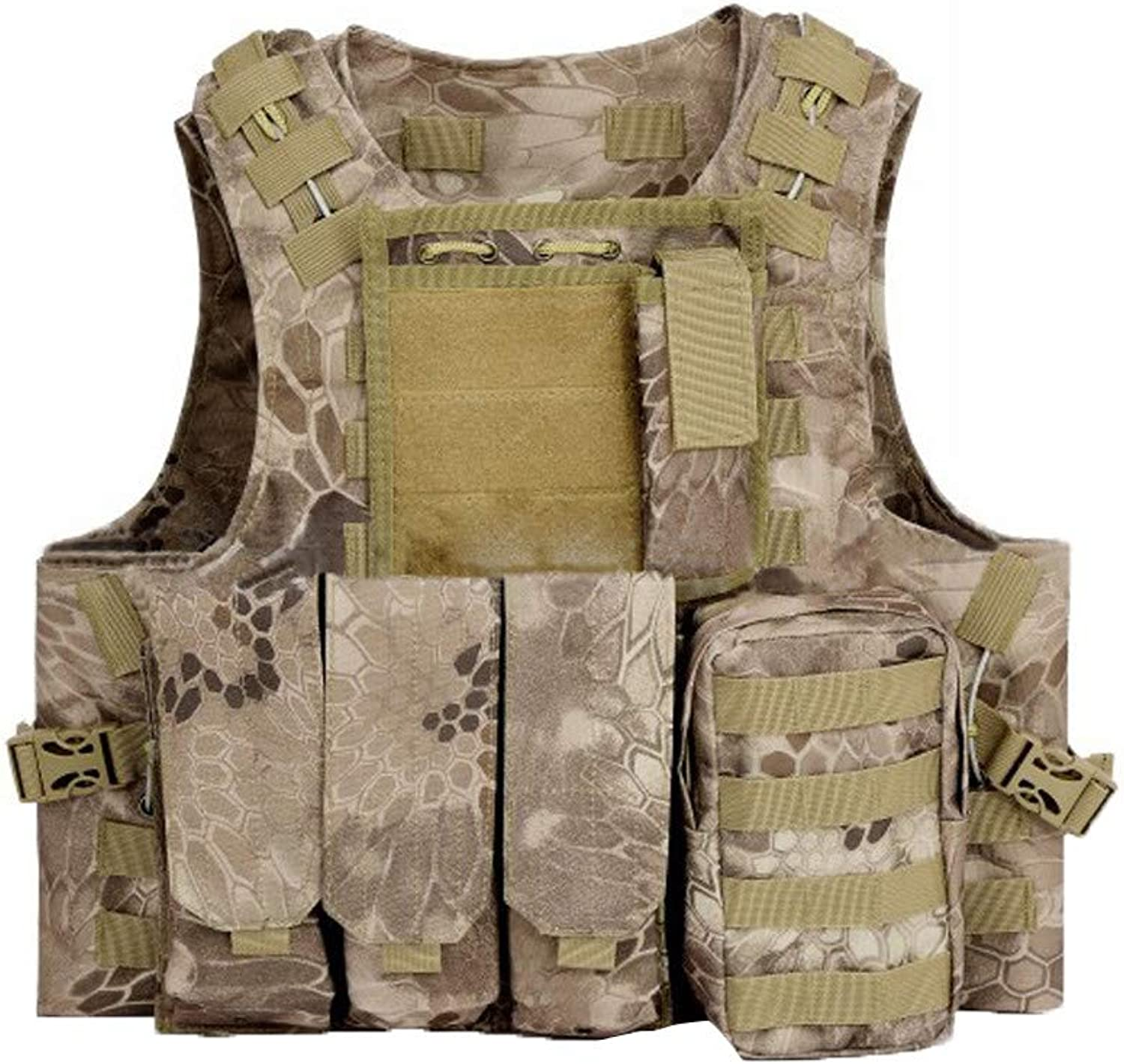 Sunflower tools Adjustable Military Fan Tactical CS Field Outdoor Traning Combat Vest for Adults Tan Crepe