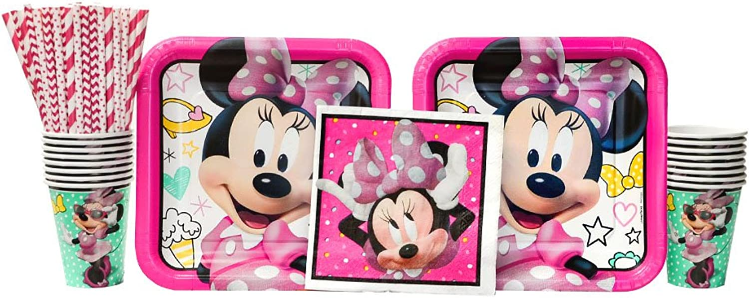 Cedar Crate Market Minnie Mouse Happy Helpers Party Supplies Pack for 16 Guests  Straws, Dinner Plates, Luncheon Napkins, and Cups