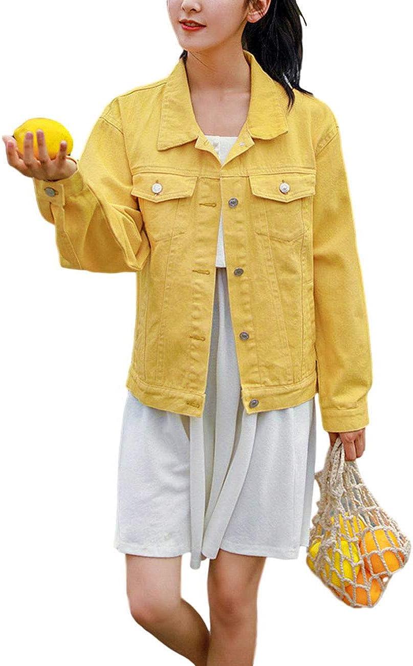 ZLSLZ Womens Casual Cute Solid Long Sleeve Denim Jean Trucker Jacket Coat Outerwear