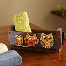 ExclusiveLane Pine Wood Tissue Roll Organiser Bathroom Towel Holder, Multicolour