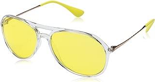RAY-BAN RB4201 Alex Aviator Sunglasses, Transparent/Yellow Mirror Red, 59 mm